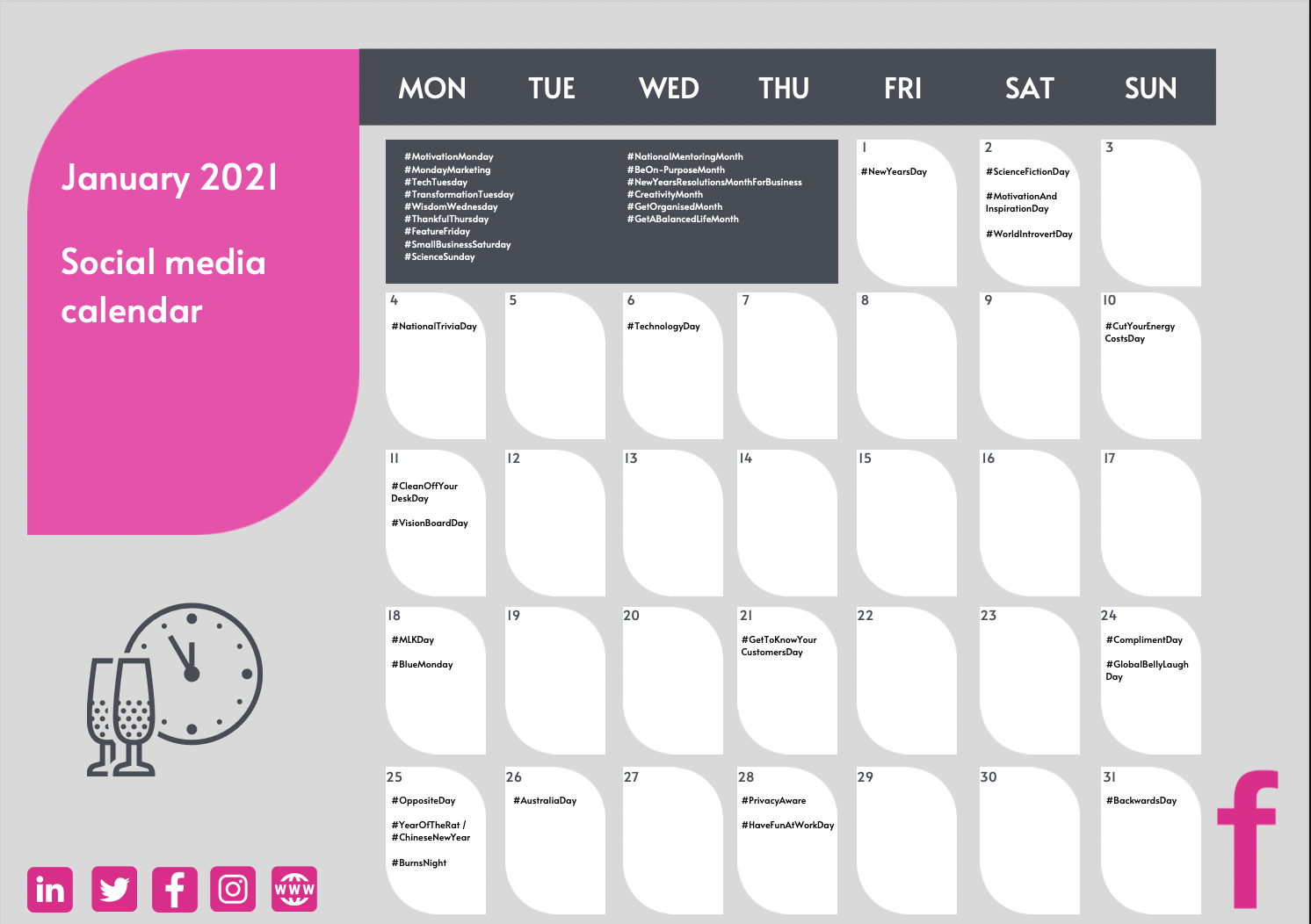 January 2021 social calendar
